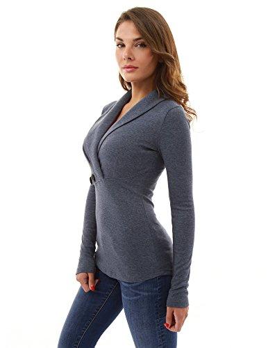Blusa Plisada Oscuro Pattyboutik Azul Detalle Chal Jaspeado Mujer Collar 6qwIUBp