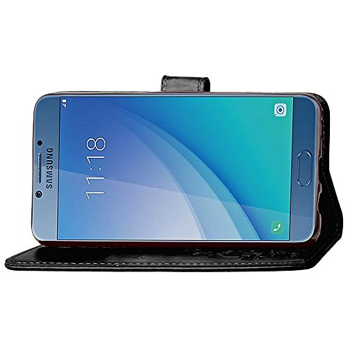 SRY-Funda móvil Samsung Estuche de cuero retro magnético del soporte del tirón de la PU del estilo retro de la succión del doblez con la función de la bolsa de la contratapa y de la cartera para el Sa Black