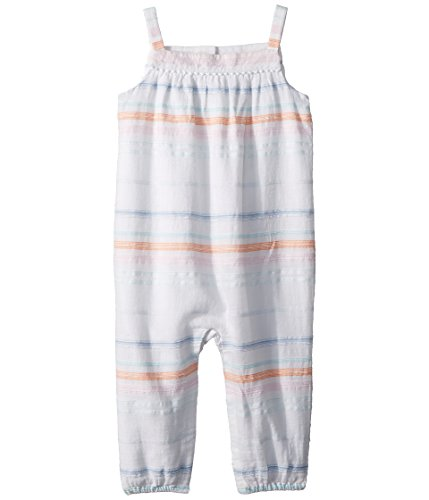 RALPH LAUREN Baby Girl Striped Cotton Romper White/Blue Multi (18 (Ralph Lauren Striped Romper)
