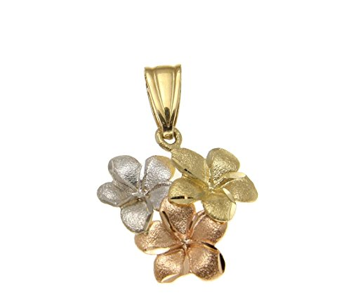 (14K solid yellow pink rose white tricolor gold Hawaiian plumeria flower charm pendant)