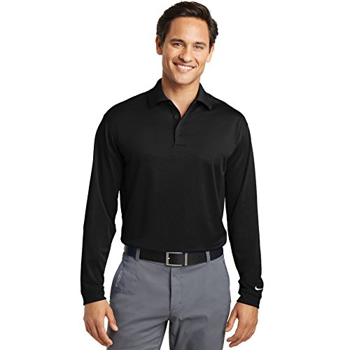 Nike Golf Mens Long Sleeve Dri-FIT Stretch Tech Polo L Black