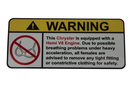 Chrysler Hemi V8 (Chrysler Hemi V8 No Bra, Warning decal, sticker)