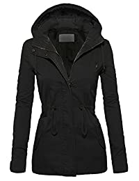 Women's Casual Zip Front Military Anorak Drawstring Waist Jacket with Hood
