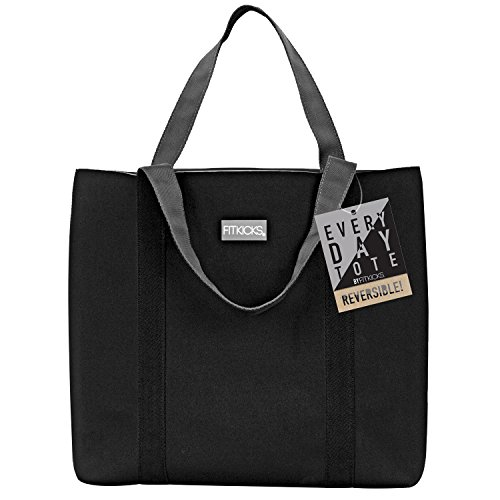 FitKicks Reversible Everyday Active Lifestyle Tote Bag (Black) by FitKicks