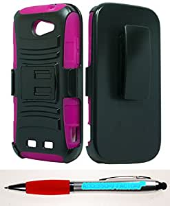 Accessory Factory(TM) Bundle (the item, 2in1 Stylus Point Pen) ZTE Warp Sync N9515 Hybrid H Stand w Holster Hot Pink