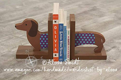 Puppy Bookends - Dachshund Wooden Bookends - Custom Created (doxie, puppy, dog)