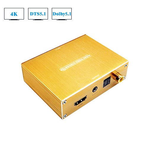 tor,4K HDMI to HDMI Audio Converter (SPDIF Optical+Coaxial+3.5mm L/R Stereo Audio),5.1 CH Dolby Digital DTS Audio Decoder Gold,AUTO EDID (Digital Coaxial Audio Interface Cable)