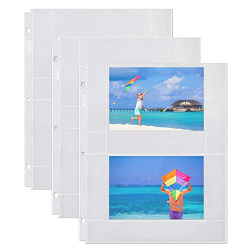 Dunwell Photo Album Refill Pages - (4x6 Horizontal, 100 Pack) for 400 Photos, 3-Ring Binder Photo Pockets, Each Photo Page Holds Four 4 x 6 Pictures, Picture Protectors, Archival Photo Sleeves