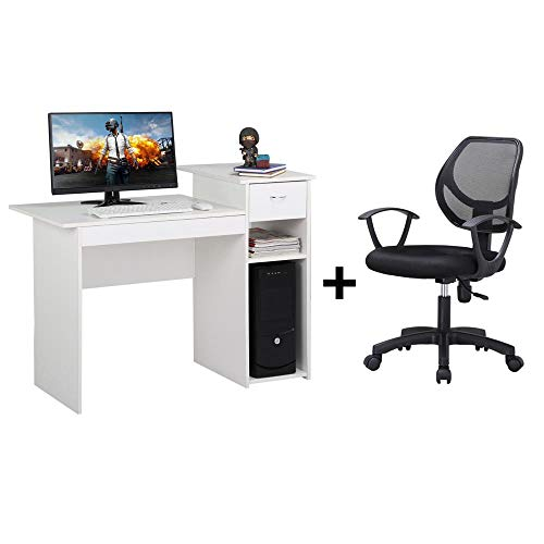 Yaheetech Computer Desk with Drawers White and Desk Office Computer Mesh Chair Black by Yaheetech