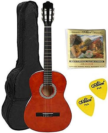 Navarra NV11 4/4 Guitarra clásica con bolsa, color miel, con 2 ...