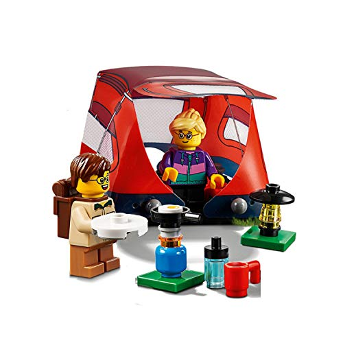 Tent Adventure Set - LEGO Outdoor Adventure Minifigure: Camper Kids (with Cool Tent, lamp, and Cook Station) 60202