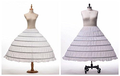 Topwedding enagua nylon 6 cerceaus piso de novia Longitud Blanco blanco
