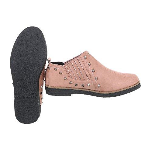 Ital-Design Women's Loafer Flats Block Heel Slippers Altrosa 2330 fGgZoI