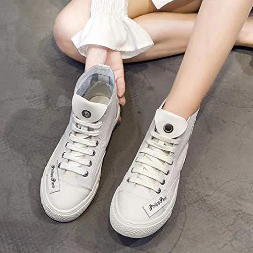 Mode Cuir Femmes Plat Pont Fond Une Baskets Et Chaussures En Casual Printemps Montantes Dames Pour Automne À De wSO0ZqF