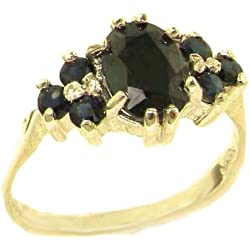 14k Yellow Gold Natural Sapphire Womens Cluster Ring - Sizes 4 to 12 Available