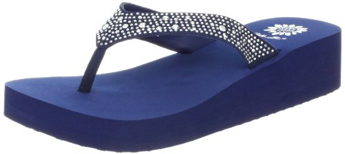 Yellow Box Women's Africa Wedge Flip Flop, Navy, 8 M US