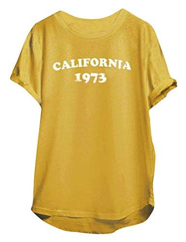 ve Crew Neck Letter Print California 1973 Yellow T-shirt (California Yellow T-shirt)