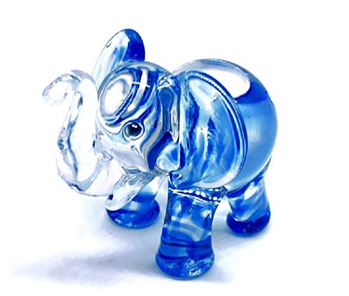- Audomna Shop Hand Blown Art Glass, Blue Elephant Miniature Animals Collection, Dollhouse Miniatures