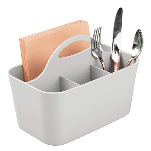 mDesign Plastic Cutlery Storage Organizer Caddy Bin - Tote with Handle - Kitchen Cabinet or Pantry - Basket Organizer for Forks, Knives, Spoons, Napkins - Indoor or Outdoor Use from mDesign