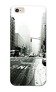 New Tpu Hard Case Premium Iphone 6 Plus Skin Case Cover(new York New York City America Usa States Skyscrapers Winter Blizzard Cars People Taxis ) For Christmas Gift