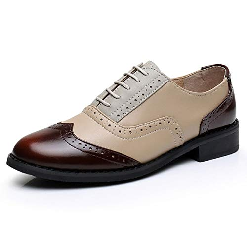 LaRosa Women's Handmade Assorted Colors Carved Wingtip Lace-up Leather Brogues Flat Oxford Shoes,Brown Beige Grey,6 ()