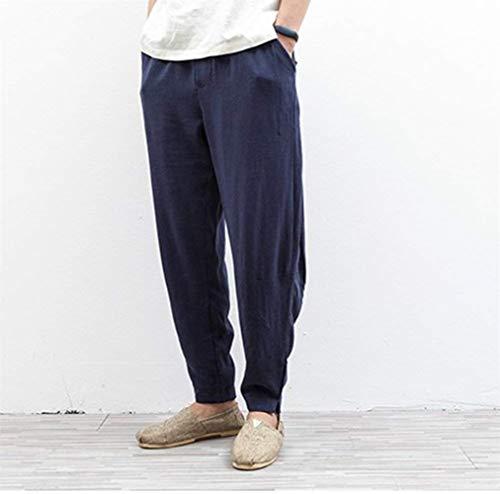 Bolsillo Hombres Vintage De Navy Blau Casual Los Ropa Plus Pantalones Lino Chino Estilo Sólidos Harem Colores Adelina vwB0qE