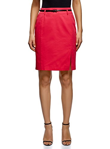 oodji Collection Women's Straight Belted Skirt, Pink, 10