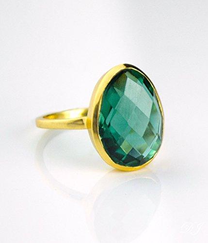 Teardrop Green Tourmaline ring, stackable ring, Vermeil Gold or sterling silver, bezel set ring, oval ring, Dark green gemstone ring, October Birthstone ring