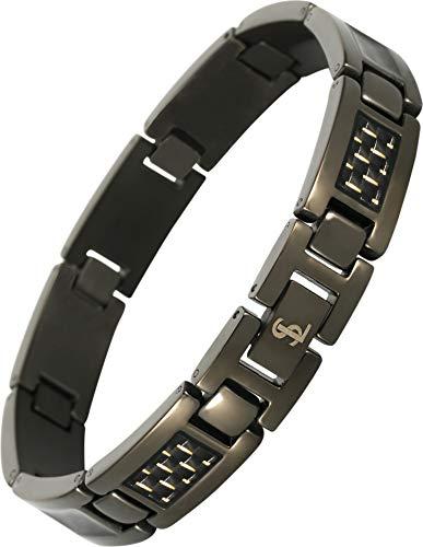 Smarter LifeStyle Elegant Surgical Grade Steel Men's Carbon Fiber Bracelet, Stylish Without Magnets (Gunmetal Bracelet, Yellow Carbon - Anniversary Yellow Bracelet