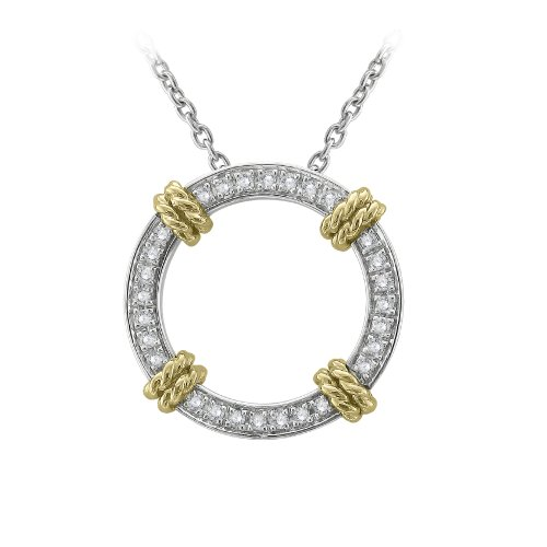 925 Sterling Silver White Diamond Circle Pendant Necklace (1/5 Carat)