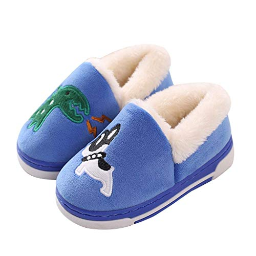 Cute Dinosaur Slippers Kids/Toddlers/Adult Family Cartoon Winter Warm House Slippers Booties Blue 13-1 B(M) US Little Kid ()