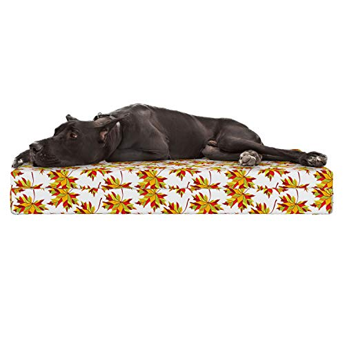 (Lunarable Yellow and Red Dog Bed, Abstract Colorful Foliage Pattern Autumn Season Maple and Ash Tree Leafage, Durable Washable Mat with Decorative Fabric Cover, 48