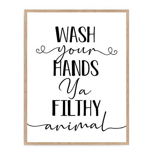 Wash Your Hands Ya Filthy Animal Bathroom Print, Funny Bathroom Sign Poster, Typography Nursery Shower Wall Art, 8x10 Unframed