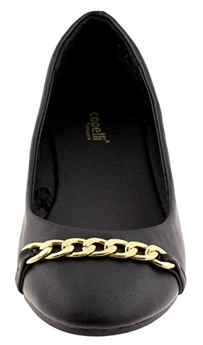 Capelli New York Faux Leather Con Chain Link Trim Ladies Flats Negro