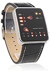 Unisex Binary LED Style PU Leather Wrist Watch (Black)