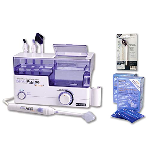 SinuPulse Elite Advanced Nasal Sinus Irrigation System with 60 Additional SinuAir Packets, Additional Replacement Sinus Irrigator Tip, and Bonus eBook by Dr. Robert S. Ivker ()