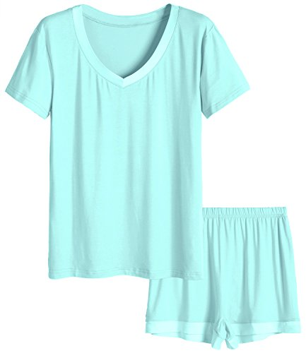 Latuza Women's V-Neck Sleepwear Short Sleeve Pajama Set L Green