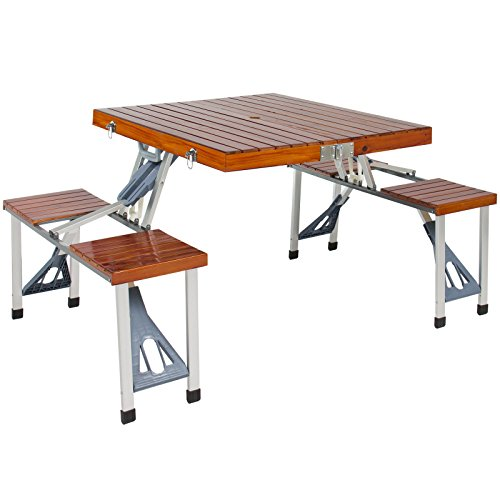 Durable Aluminum Frame Wood Folding Picnic Table with Carrying Case Perfect for Family Outing and Camping