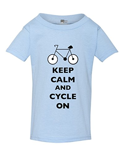 Girls T-shirt Pms (Keep Calm and Cycle On Cyclist Bicycle Toddler Kids T-Shirt Tee (5T, Light Blue w/Black))