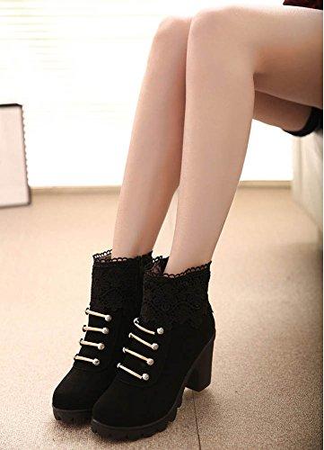 Calentar Cordones Minetom Tacón Moda Martin De Cortas Negro Boots Elegante Alto Botines Invierno Botas Zapatos Shoes Mujer Otoño Casual Rnn7IwqpfA