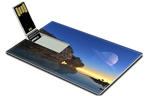 Luxlady 32GB USB Flash Drive 2.0 Memory Stick Credit Card Size Spaceship crashed on the beach IMAGE 20557850