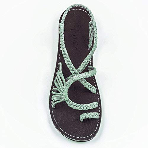 Plaka Flat Summer Sandals for Women Sage Green 7 Palm Leaf ()
