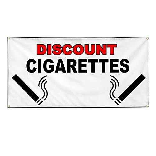 Vinyl Banner Sign Discount Cigarettes White Black Business Marketing Advertising White - 24inx60in (Multiple Sizes Available), 4 Grommets, One ()