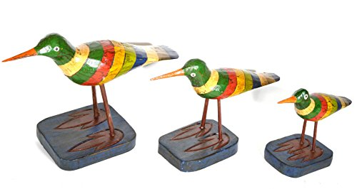 HAND CARVED SET OF 3 PAINTED WOOD CARVING SHOREBIRD SANDPIPER BIRD DECOY VINTAGE ()