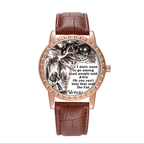 - Luxury Watch Brand Popular, Brown Fashion Classy Watch Brand Popular, for Your own or Relatives Friends Lover Men's Watch Personality Pattern Watch Alice in Wonderland; Cheshire Cat with Alice