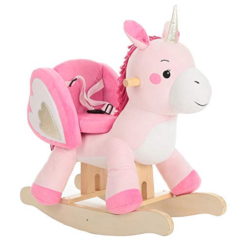 Wooden Rocking Horse, Kids Unicorn Rocker Ride On, Plush Stuffed Animal Rocker Toy for Kid 1-3 -