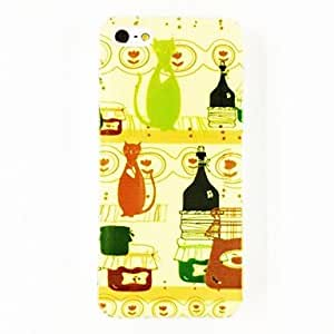 MOFY-Botella y gatos Flores Patr—n Hard Case para el iPhone 5/5S de policarbonato , Multicolor
