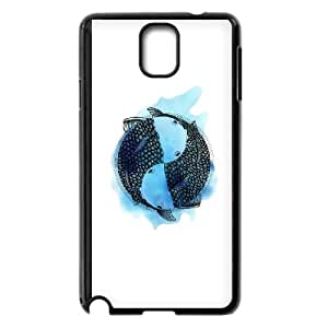 Samsung Galaxy Note 3 Cell Phone Case Black Pisces zodiac sign (tattoo style with blue watercolor) SRY Phone Case Stores