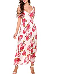 Meaneor Women's Boho Spaghetti Straps Floral Print Flowy Party Casual Maxi Dress