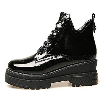 Shukun Botines Botas Martin Boots para Mujer Botas Cortas Primavera y otoño Botas Tobilleras Charol con Zapatos de Invierno: Amazon.es: Deportes y aire ...